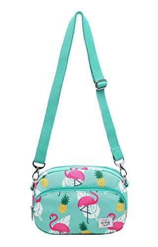 "MIETTE Girls Small Crossbody Purse Cute Messenger Bag | 8.6""x5.9""x1.8"" | Flamingo, Mint"