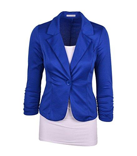 Wowbridal mujeres botón de un solo trabajo de color sólido chaqueta de punto Azul