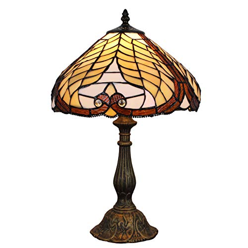 (FBOSS Tiffany Style Owl Feather Stained Glass Table Lamps for Living Room, Bedroom,Coffee Table,Studios,Any High-end Places)