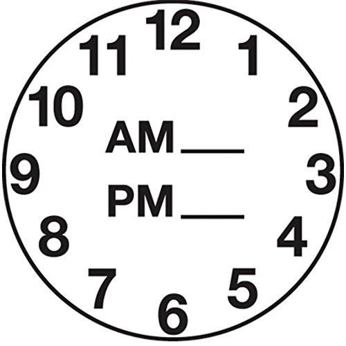 Clock Dot Labels White Black Imprint - 1 1/4