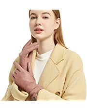 Leather Gloves Women - NOVBJECT Winter Full-Hand Touch Screen Warm Driving Gloves Lambskin Cashmere lined