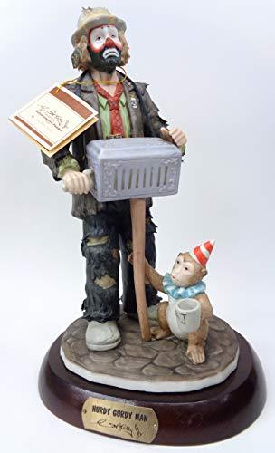 Emmett Kelly Jr. - ''Hurdy Gurdy Clown'' Limited Edition, Collectible Porcelain Figurine w/Original Box