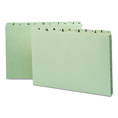 Pressboard File Guide 1/5 Tab (Smead Pressboard Guides, 1/5-Cut Tab (A-Z), Legal Size, Gray/Green, 25 per Set (52376))