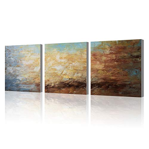 Abstract Wall Art 100% Hand Painted Modern Oil Painting on Canvas Large Framed Blue and Brown 3 Piece Artwork Ready to Hang for Living Room Bedroom Office Home Decoration -