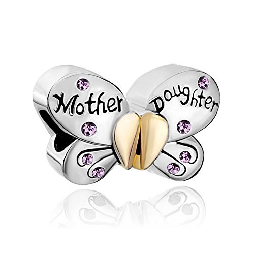 Melody Charms Mother Daughter Charms Separable Butterfly Crystal Heart Mom Bead (Alexandrite June Birthstone)
