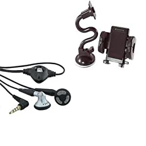Bloutina 2in1 Stereo Handsfree Headset Earbuds+Windshield Car Mount Holder Bundle For Samsung Intrepid SPH i350 i225 Exec...