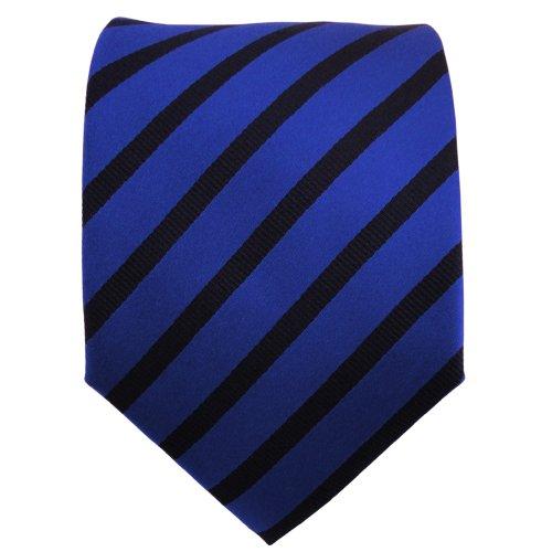 TigerTie cravate en soie bleu foncé noir rayé - cravate en soie