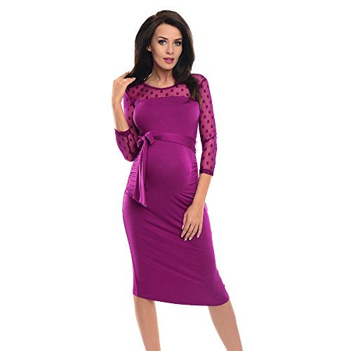 (Maternity Dresses for Special Occasions,Women Maternity Ruched Bodycon Pregnancy Dress with Polka Dot Lace,Hot Pink,XL)