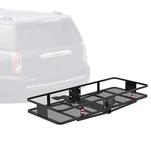 LuluHome Hitch Cargo Carrier, Hitch Mount Cargo Carrier Steel Constructed Luggage Basket for SUV and ()