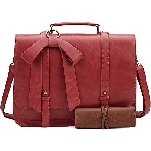 SOSATCHEL Women Briefcase Bag Leather, 15.6 Inch Laptop Crossbody Shoulder Bag, Red