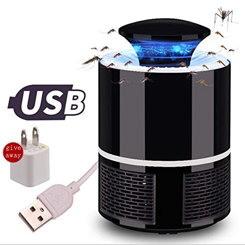 USB Photocatalyst Mosquito Killer Lamp Pest Control Electric Anti Trap Lamp Mosquito Trap Repeller Bug Insect Repellent   Black with Adapter