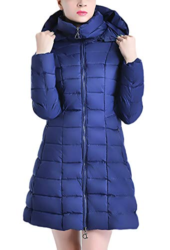 Giacca Incappucciato Piumino Invernali Casual Moda Navy Laterali Donna Trapuntata Blue Monocromo Tasche Con Alla Trapuntato Eleganti Anni Cerniera Autunno Cappotto 20 1qU8aa