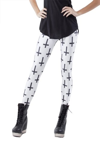 Amoluv Women's Fashion Digital Print Cross Pattern Sexy Leggings(White)