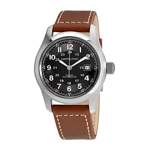 Hamilton Men's H70555533 Khaki Field Stainless Steel Automatic Watch with Brown Leather Band Automatic Watch Stainless Steel Band