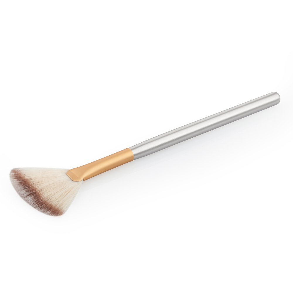 MagiDeal Fan Shape Wooden Handle Face Powder Blending Highlight Contour Makeup Cosmetic Brush - Gold, 18.5*0.8*0.8 cm