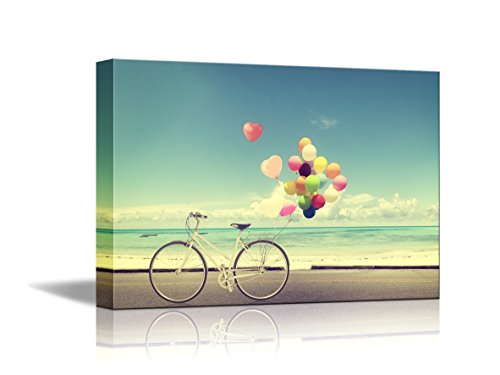 Bicycle Vintage With Heart Balloon On Beach Blue Sky Print
