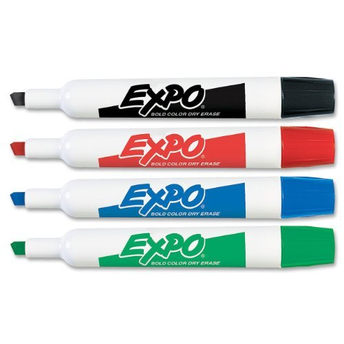 Expo Low Odor Dry Erase Markers Chisel Tip, Assorted colors, One Dozen of Each Color, Black, Red, Blue, Green, Markers, With Expo Spray, Expo Eraser, ''Bright Flag Set Included''(Teachers Best Seller) by Expo (Image #2)