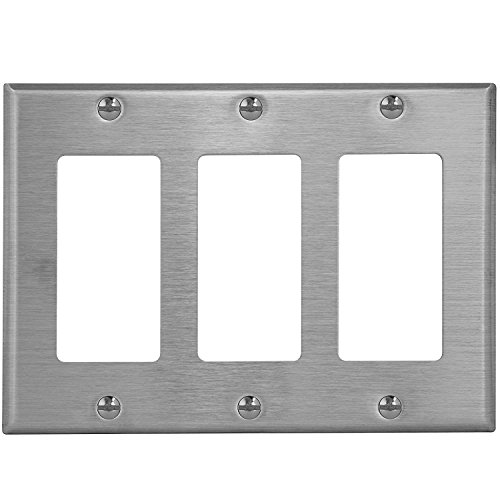 stainless steel 3 gang wall plate - 3
