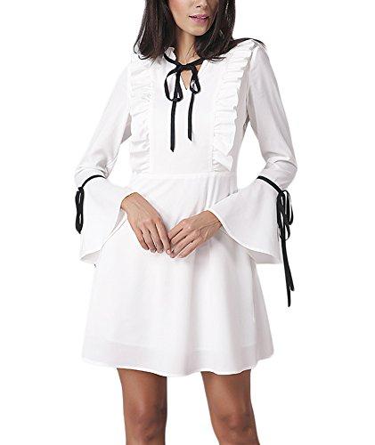 Sommerkleider Damen Kurz Mädchen Weiß Abendkleider Festlich Elegant A Linie  Abschluss Kleider V Ausschnitt Rüschen Trompetenärmel 84c60838a7