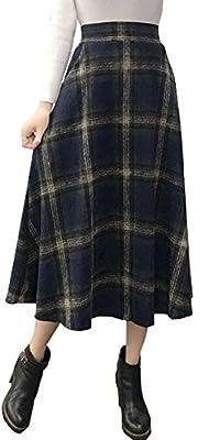 Vocni Women Plaid A-Line Flared Vintage Fully Lined Back Elastic Wool Blend Long Skirt