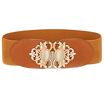 Women's Wide Buckle Belt Luxury Floral Rhinestone Embossed Cinch Waist Belts (Brown)