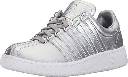 K-Swiss Women's Classic VN Aged Foil Athletic Shoe, Silver/White, 8.5 M US