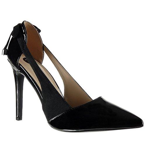 Stiletto Chaussure Mode Aiguille Lanière Decolleté 10 Noir Métallique Escarpin Femme Talon Cm Ouverte Noeud Angkorly Haut S1qwTtdt