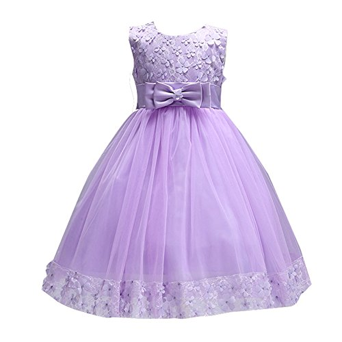 Shiny Violet - Girls Lace Dresses for Party Prom Elegant Baby Sleeveless Flower Girl Dress Ball Gowns for Bridal Weddings Beach Vintage Knee Kids Tutu Shiny Violet Size 5T 6 Special Occasion Fancy Tops (Purple, 8)