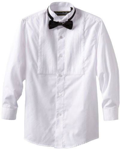 American Exchange Big Boys' Tuxedo Shirt with Bowtie, White, 10