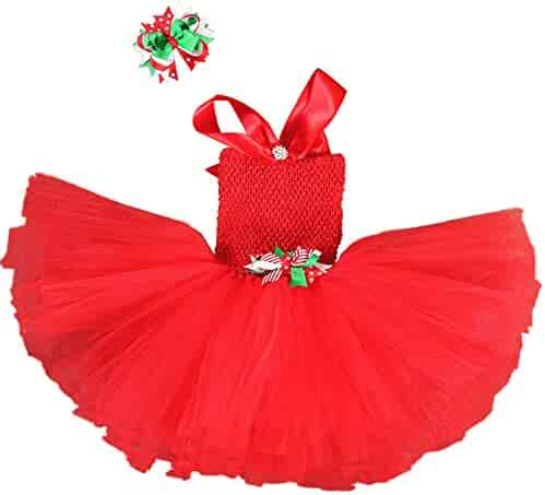 7fb37ff59d29 ONFUNU Girls Christmas Costume Santa Party Xmas Tutu Dress up Outfits with  Headband