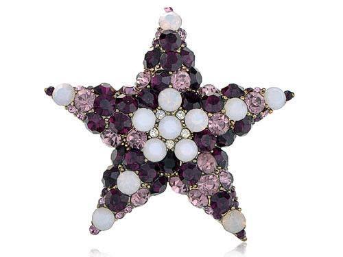 Golden Purple White Opal Crystal Rhinestone Holy Star Fashion Brooch