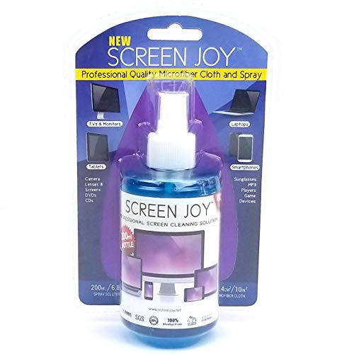 Screen Joy Computer Screen Cleaner and Microfiber Cloth - Perfect for Flat Screen TVs, Tablets, iPads, Laptops and Smartphones - A Screen Cleaner and Premium Cloth Made for Today's Modern Devices ()