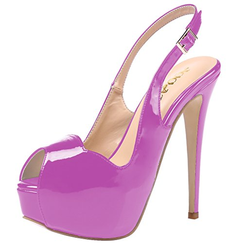 AOOAR Women's Slingback High Heels with Hidden Platform Purple Patent Party Pumps 10.5 M US