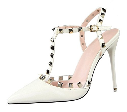 HooH Women's Patent Leather T-Strap Studded Stiletto Slingback Wedding Sandals White lFGmb3dfR