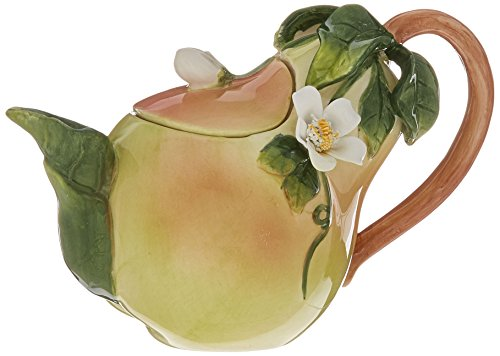 Cg 801-48 Pear Shaped Teapot with Green Leaf Spout