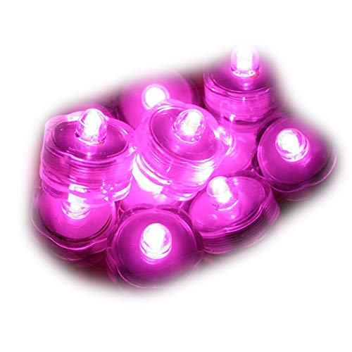 Sokaton Submersible Tea Light Battery Operated Waterproof LED Tealights Underwater Vase Light for Christmas Xmas Holloween Party Wedding Decoration (Pink-12)