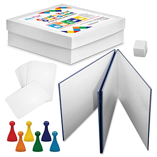 Blank Board Game and Pieces - Make Your Own Board Game with Blank Dice, Cards, Pawns, and Game Storage Box (Game Board Blank)