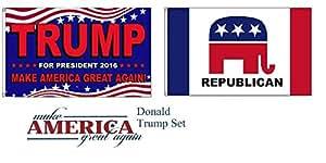 Moon 3x 5Trump hacer América gran nuevo. partido de la República al por mayor bandera Juego 3'x5' colores vivos y ultravioleta resistente a la decoloración–cabecera y poliéster MATERIAL