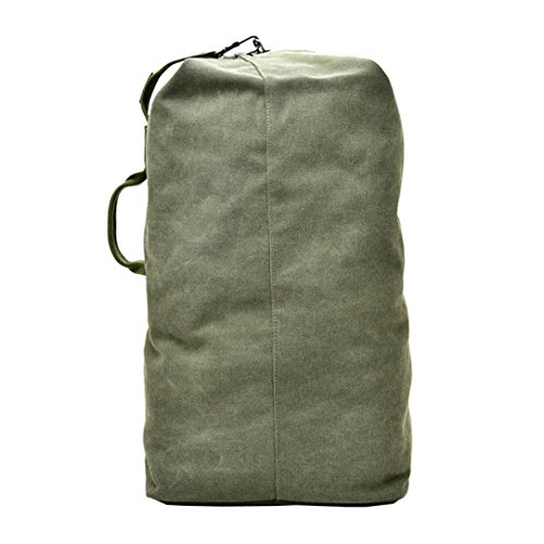 Unisex Canvas Backpack Large Capacity Satchel Outdoor Travel Hiking Bag (L, Army Green) by Napoo-Bag