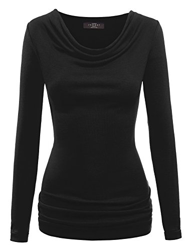 WT916 Womens Cowl Neck Long Sleeve Pullover Top S Black