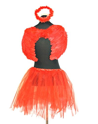 Angels Dress Fancy (Zac's Alter Ego Women's Fancy Dress Angel Feather Halo, Wings & Tutu Set One Size)