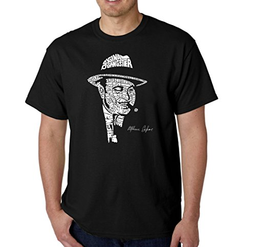 Men's Graphic Novelty T-shirt Tees American Apparel Soft Fine Cotton - Al Capone-Original Gangster - Black - XX-Large