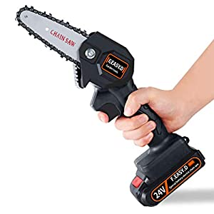 F.EASY.D Mini Chainsaw 4-Inch Cordless Electric Protable Chainsaw with Brushless Motor, One-Hand 0.7kg Lightweight…