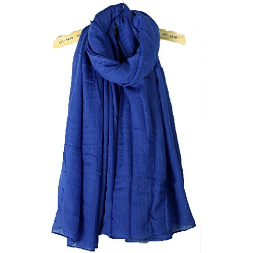 Blevla Ramie Cotton Elegant Long Solid Color Scarf Shawl Royal blue