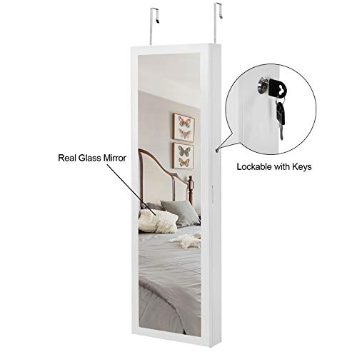 SONGMICS 6 LEDs Mirror Jewelry Cabinet Lockable Wall/Door Mounted Jewelry Armoire Organizer with Mirror 2 Drawers White Mother's Day Gift UJJC93W by SONGMICS (Image #4)