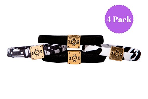 """Fashionable Hair Tie Bracelets (4 Pack) - Kini Bands - Elastic Ponytail Hair Bands No Crease – For Girls Teens Women – Stylish and Tangle Free - 6.5"""" Circumference - - Bands Made Ray Are Where"""