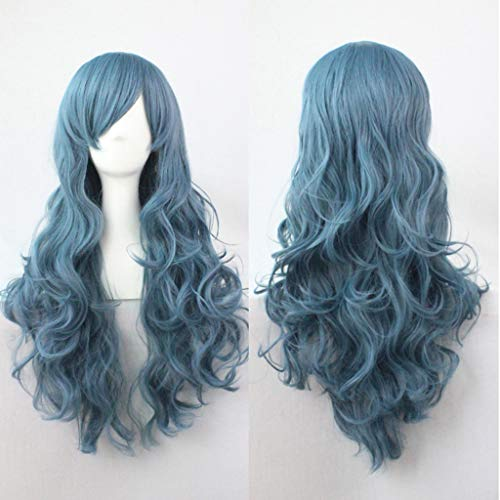 Little Story  False Wig, Sexy Women Cosplay Wavy Curly Synthetic Wig Fashion Dark Blue Long Party Wigs ()