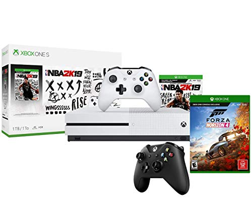 Xbox One S NBA 2K19 Forza Bonus Bundle: NBA 2K 19, Forza Horizon 4, Xbox One S 1TB Console with Extra Wireless Controller