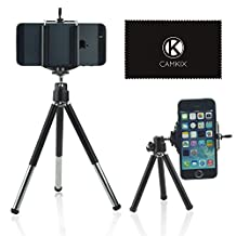 Camkix Universal Adjustable Tripod Kit including Tripod / Universal Phone Holder / Velvet Phone Bag / Microfiber Cleaning Cloth - Suitable for iPhone, Samsung and Most Other Phones