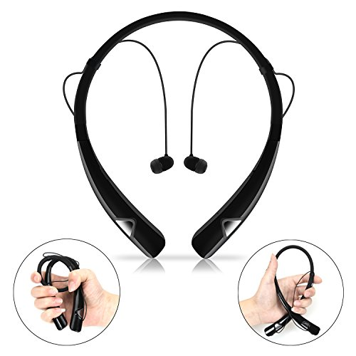 GULUDED Bluetooth Headphones Sports Neckband Headset Retractable Earbuds Wireless Sweatproof Bluetooth 4.1CSR Stereo Earphones with Noise Cancelling Mic for sports and Gym